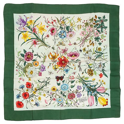 Gucci 100% Silk Green Twill Floral Scarf