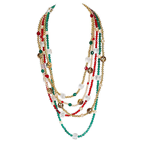 YSL Crystal Multi Strand Necklace
