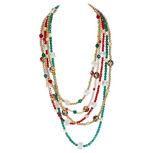 YSL Crystal Multi Strand Necklace