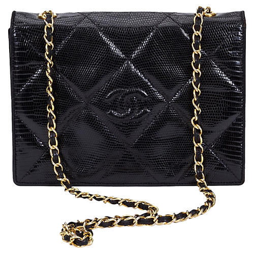 Chanel Black Lizard Envelope Flap Bag