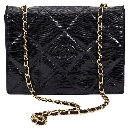 Chanel Black Lizard Envelope Flap Bag