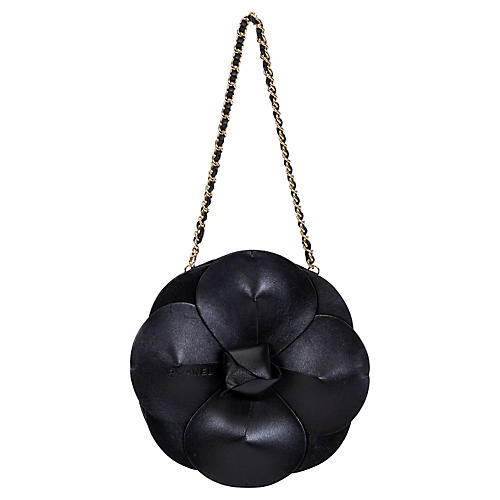 Chanel Rare Leather Camellia Evening Bag
