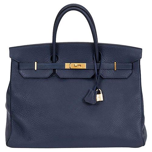 Hermès 40cm Navy & Gold Togo Birkin