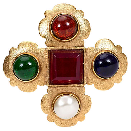 1980s Chanel Large Maltese Cross Pin