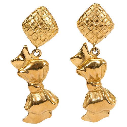 1970s Chanel Dangling Bow Earrings