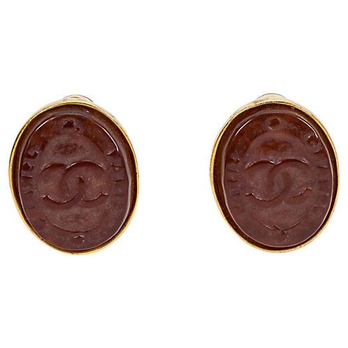 Chanel Gripoix Seal Earrings, 1999