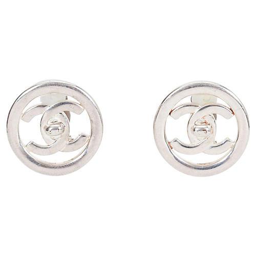 Chanel Silver Turn Lock Earrings, 1997