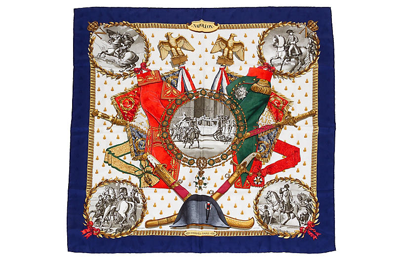 Hermès Collectible Napoleon Navy Scarf