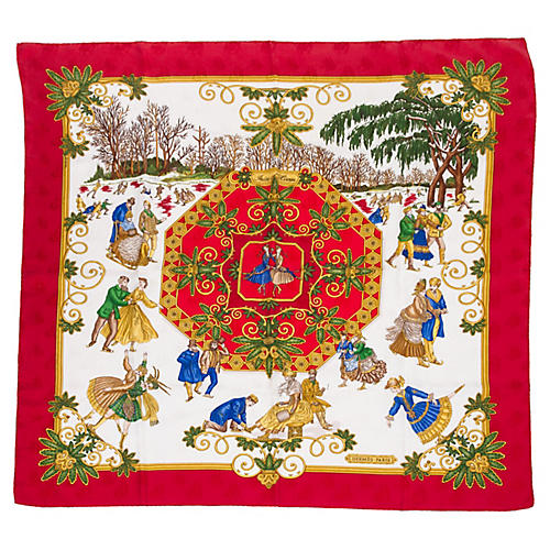 Hermès Joies d'Hiver Red Silk Scarf