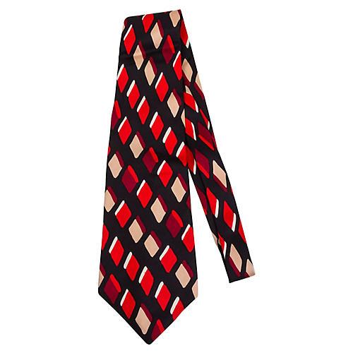 Lanvin Diamond Red Print Silk Tie