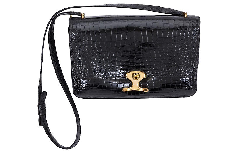 Hermès Black Crocodile Shoulder Bag