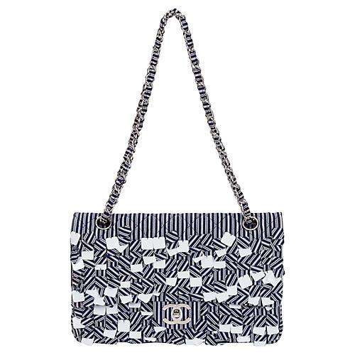 Chanel Blue & White Sequins Flap Bag