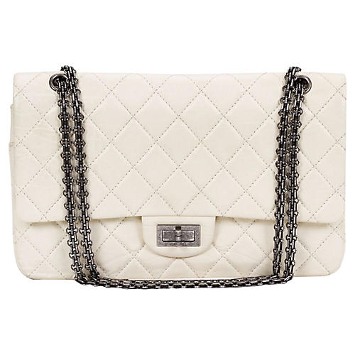 Chanel White Distressed Jumbo Bag