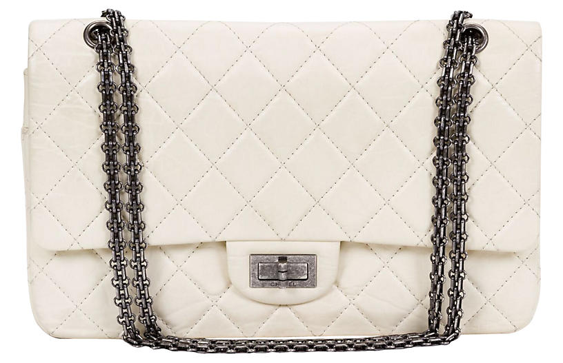 Chanel White Distressed Jumbo Bag