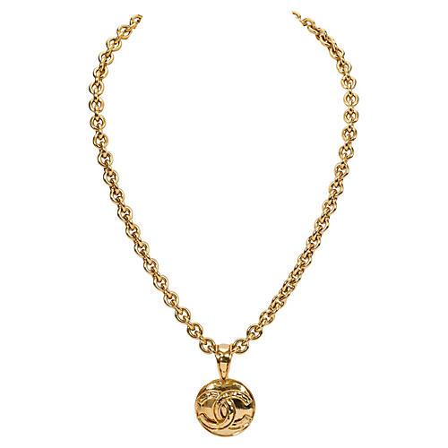 Chanel Necklace w/ Logo Coin Pendant