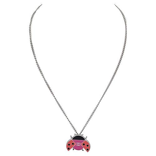 Chanel Enameled Ladybug Necklace