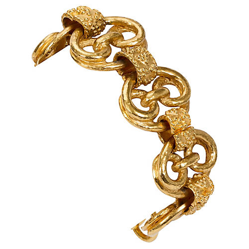 Chanel Satin Gold Bell Bracelet