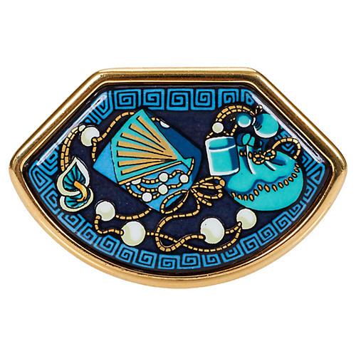 Hermès Blue & Gold Enamel Pearl Pin