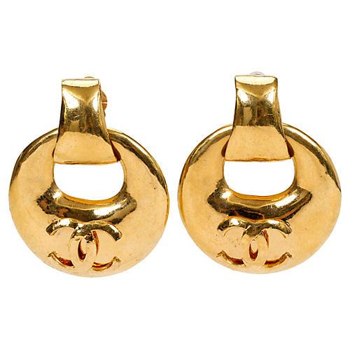 Chanel Oversize Gold Hoop Earrings