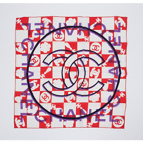 Chanel Coral Purple Silk Logo Scarf