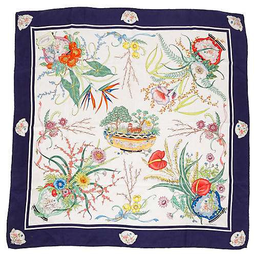 Gucci Floral Navy Accornero Silk Scarf
