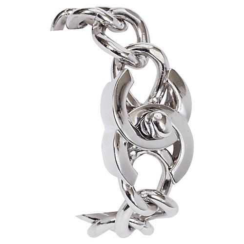 Chanel Turn Lock Silver Logo Bracelet