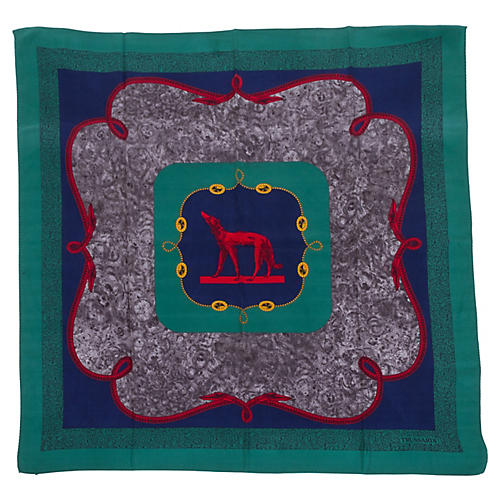Hunter Green Trussardi Silk Twill Scarf