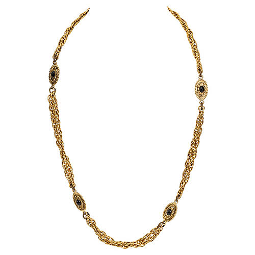 Chanel Black Bead Double Necklace, 1982
