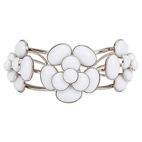 Chanel White Gripoix Camellia Cuff