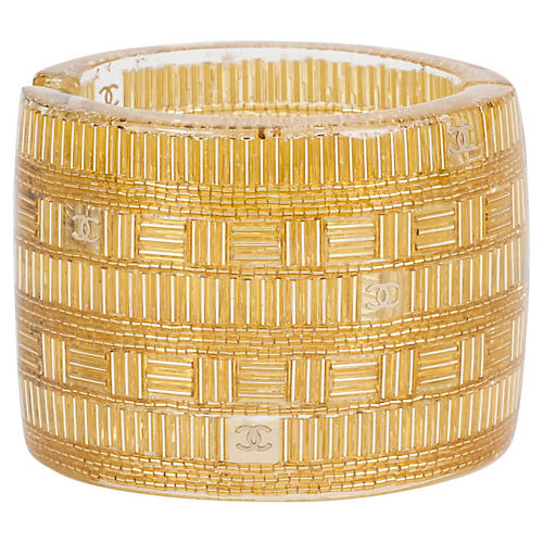 Chanel Clear & Gold Lucite Cuff Bracelet