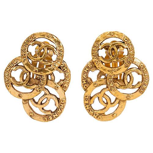 Chanel Multi-Logo Clip Earrings