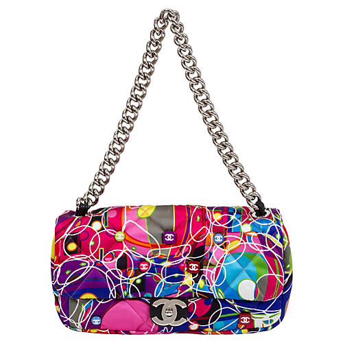 Chanel Multicolor Silk Quilted Flap Bag