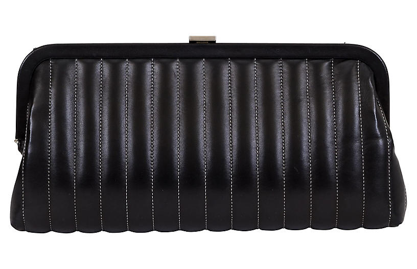 Chanel Vertical Quilted Black Clutch