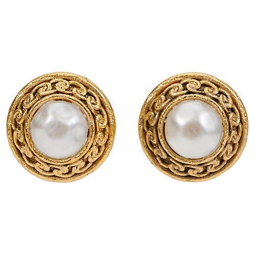 Chanel Satin Gold Faux-Pearl Earrings