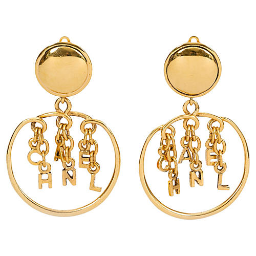 Chanel Dangling Letters Clip Earrings