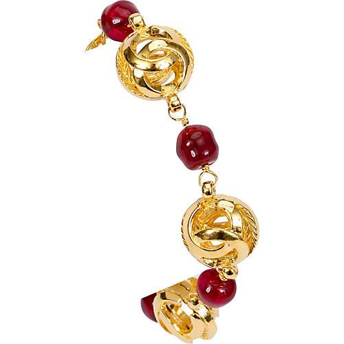 1970s Chanel Red Gripoix & Logo Bracelet