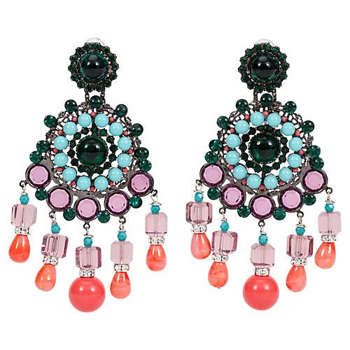 Vrba Art Deco Multi-Stone Earrings
