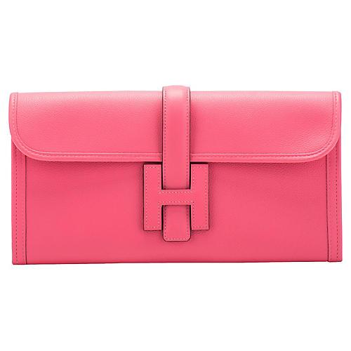 Hermès Rose Azalee Jige Elan Clutch