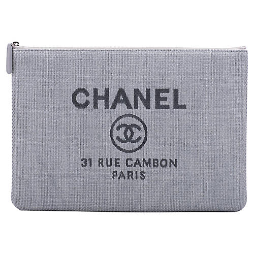 Chanel Large Blue Linen Clutch