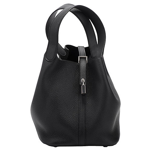 Hermès Picotin MM Black Clemence Bag
