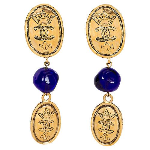 Chanel Blue Gripoix Logo Coin Earrings