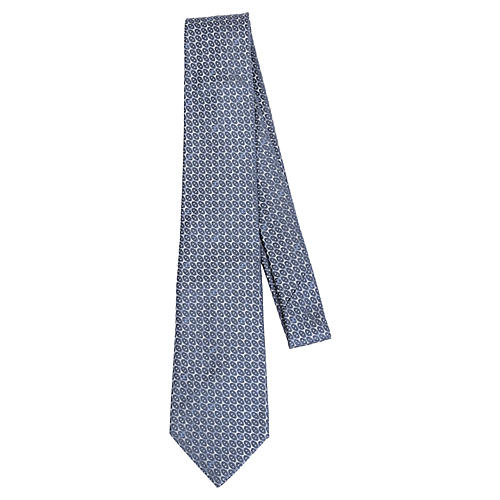 Chanel Gray Metallic Silk Tie