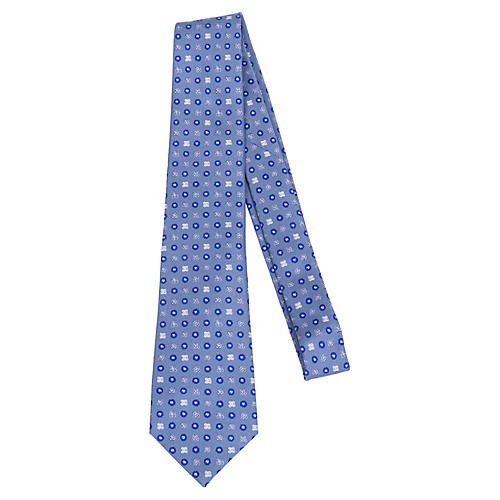Chanel Blue & Gray Silk Tie