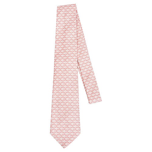 Chanel Cream & Pink Silk Tie