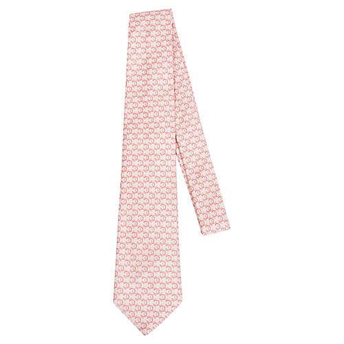 Chanel Cream & Pink Silk Tie