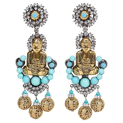 Vrba Faux-Turquoise Buddha Earrings