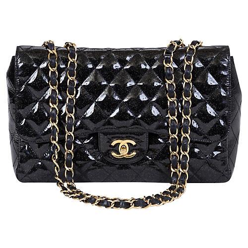 Chanel Black Sparkle Jumbo Single Flap