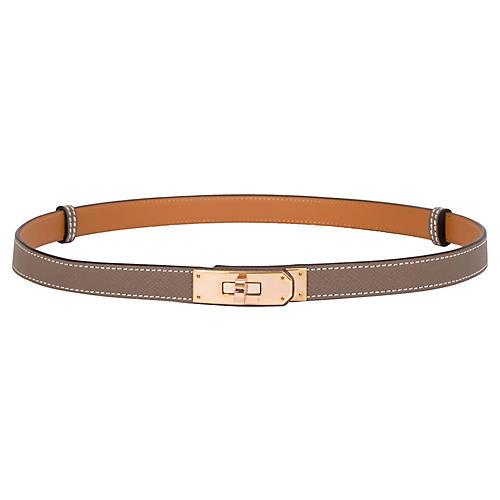 Hermès Rose Gold & Etoupe Kelly Belt