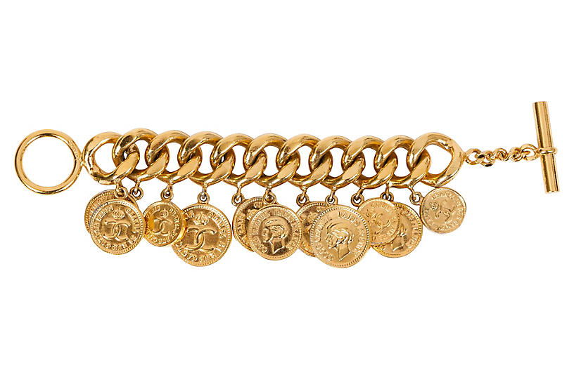 1970s Chanel Dangling Coin Gold Bracelet
