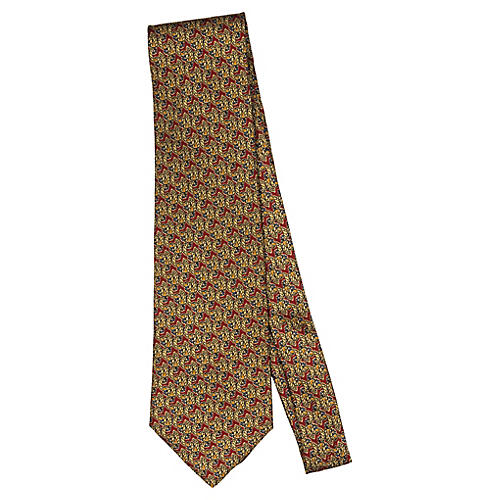 Fendi Burgundy & Gold Silk Print Tie